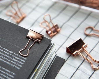 Rose Gold Binder Clips for the Office, Bulldog Clips in Bronze Rose Gold Copper,  Metal Paper Clips