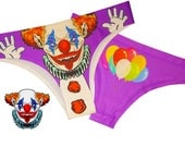 Scary Clown Womens Panties  Underwear  Halloween Underwear  Clown Costume  Clown Mask Clown Knickers  Halloween Knickers  Scary Pants