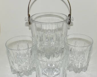 Italy cut glass ice bucket chiller and 3 matching 8 oz. Tumblers on rocks glasses heavy Italian glass vintage barware serving drinking