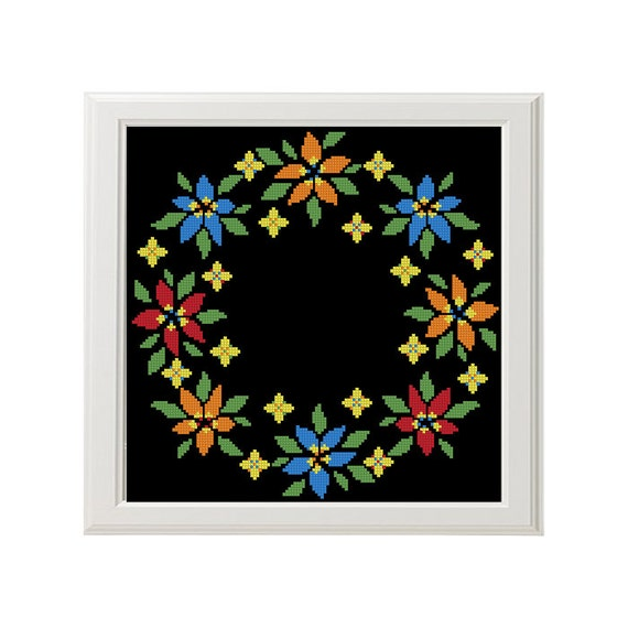 Round flowers cross stitch pattern modern pillow pattern circlet of flowers PDF from ...