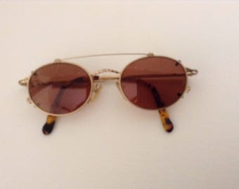 Vintage Nicole Miller Eyeglass Frames With Clip-On Sunglasses, Steampunk Style