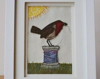 Tweed Robin on a Cotton Reel