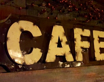 Beautiful Hand Made All Metal Rustic 3D CAFE Sign