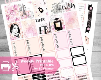 Printable Planner Stickers, Sweet Florals, Glam planner, Friday, use with Erin Condren, weekly Stickers, Pink, black, girly, Chic, Paris