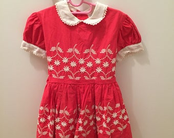 Stunning red vintage toddler girl dress with embroidery