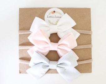 Essential baby bow set/ baby bow set/ baby headbands/ newborn headbands/ cute baby bows/ nylon headbands/ summer baby bows