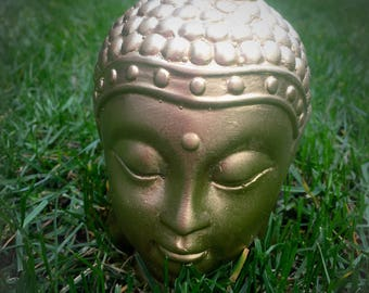 "Handmade concretebuddha head painted ""brass"" colour"