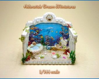 Miniature roombox 1/144 scale, micro miniature fully artisan 1:144, Mermaid room miniature diorama, cute mermaid miniature.