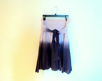 Skirt and dress in cotton with belt. Summer skirt vintage. Tie long skirt to the knee. Old rose and mauve colors. Hippie style.