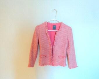 Short jacket for women. Vintage clothing. Peach pink cotton jacket. Summer jacket.