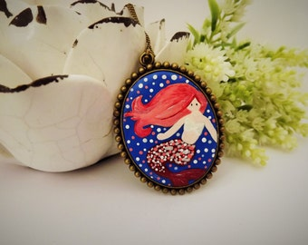 Pink Mermaid Magic Necklace. Lovely Vintage Hand Painted Cameo Pendant Necklace Polymer Clay Jewelry Nickel Free Antique Bronze