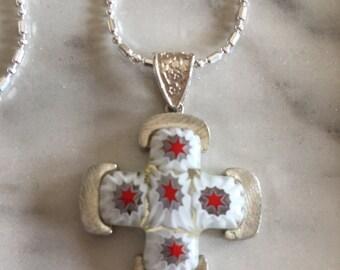 Italian Millefiori glass cross pendant