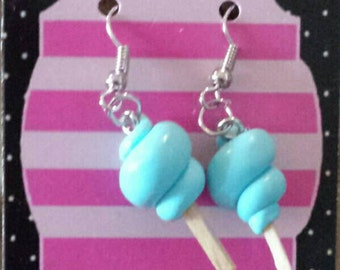 Earrings cotton candy blue
