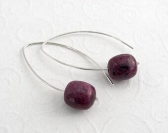 Modern leaf earrings Ruby zoisite, gemstone earrings 925 sterling silver, hand made,.