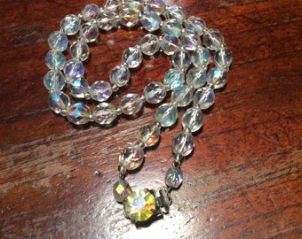 Aurora Borealis Clear Cut Glass Crystal Necklace