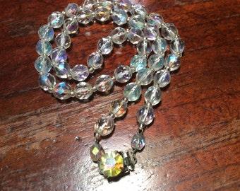 Aurora Borealis Clear Cut Glass Crystal Necklace