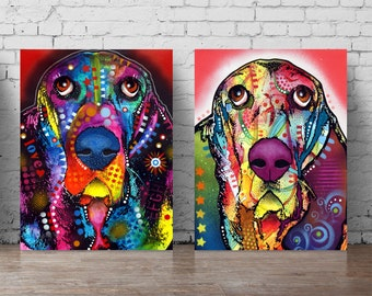Basset dog poster set dog wall decal A5-A0 poster dog wall sticker dogs animals pop art colorful abstract dog wall art design Dean russo 344