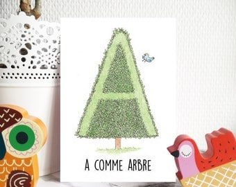 Map Alphabet, letter A-C, child educational gift, to write a name, a Word, an expression...