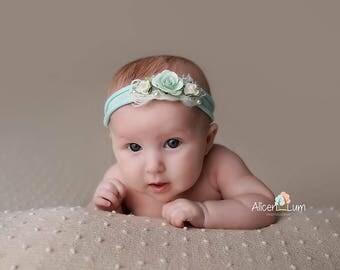 Newborn Tieback, Newborn Photo Prop, Baby Tieback, Mint Tieback, Baby Headband