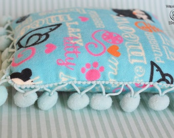 Cat pillow cushion pad, Catnip toy, Cat gifts, Christmas cat, Cat bed, Soft blue flannel, Pom pom pillow, Cat sleep accessories, Cat bedding
