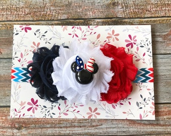 Minnie Mouse Headband, 4th of July Headband, 4th of July Baby Headband, Newborn Headband ,Baby Girl Headband, Baby Headband, Infant Headband