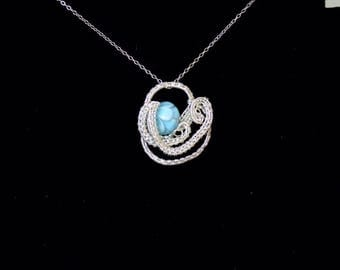 Blue waters sterling silver pendant