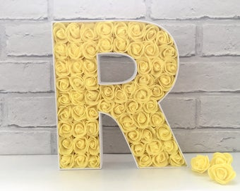 Mr and Mrs wedding sign, First birthday gift, Large wooden letter, Bat Mitzvah gift, Yellow rose decor, Floral nursery letter, Yellow roses