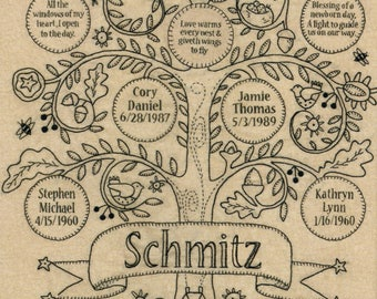 Blessing Tree Pattern by Kathy Schmitz, Embroidery Pattern, Family Tree Design