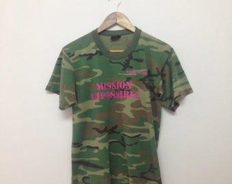 Vintage Camoflauge T-Shirt/Camp Ozark Mission Imposible Camo T-Shirt/Size S