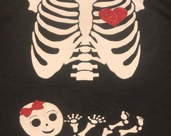 Maternity Skeleton baby shirt**Free shipping**