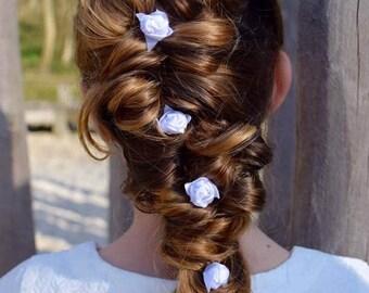 White rosebud hair pin, white hair pin, bridal hair, updo, wedding