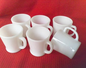 Fire King mugs, coffee cups, Anchor Hocking, Set of 6