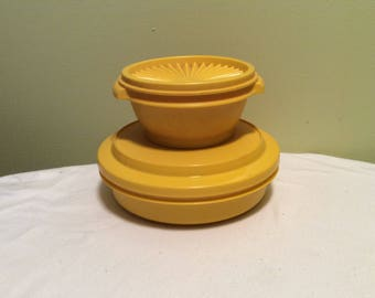 Vintage Tupperware Mustard Sunflower Golden Yellow Set of two Round Plastic Containers To Go with Lids Lunch Storage Bowls
