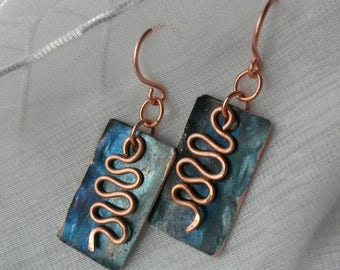 Hammered mixed metal rectangle copper blue earrings
