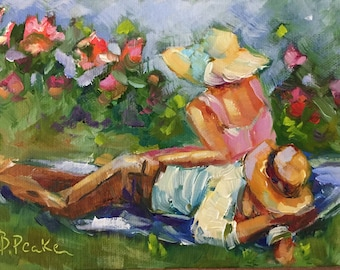Original modern impressionist oil painting of romantic couple in garden