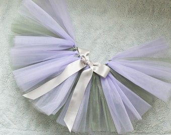 Tutu, Lavender and Shimmery Silver Tutu with Silver Ribbon - Baby, Girl, Adult Tutu