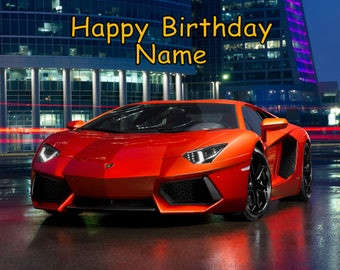 Lamborghini Lambo Car Edible Image Cake Topper Personalized Birthday 1/4  Sheet