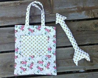 Pink White and Gold Floral Little Purse and Toy Arrow Set