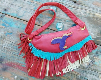 On Sale!!! 85.00!! was 150.00!! Leather Suede Humming Bird Purse