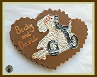 Wedding Chocolate Heart/Biker Wedding/Motorcycle/Motorbike Wedding/Mr and Mrs/Newlywed Couple/Just Married/Biker Couple/Personalised Wedding