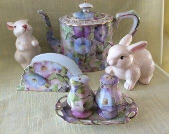 Beautiful Morning Glory teapot salt pepper shakers napkin holder Skye McGhie tea set