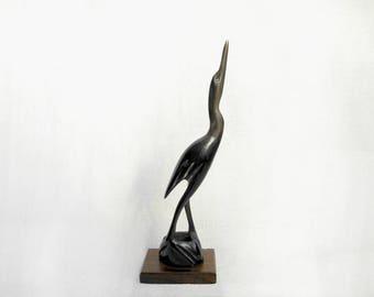 vintage egret bird sculpture /  horn