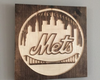 New York Mets wooden engraved sign