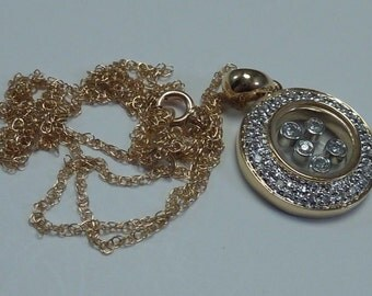 "3.73 Gram 14K Yellow Gold 18"" Chain with Floating Diamond Pendant"