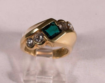 18K Yellow Gold Yellow Emerald and Diamond Ring, size 5.5