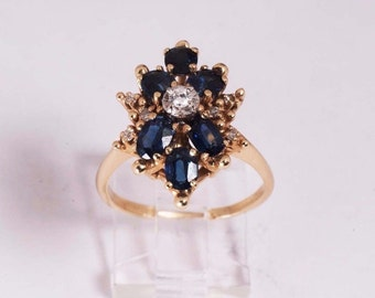 14K Yellow Gold sapphire and Diamond Ring , 5.5 grams, size 8.25