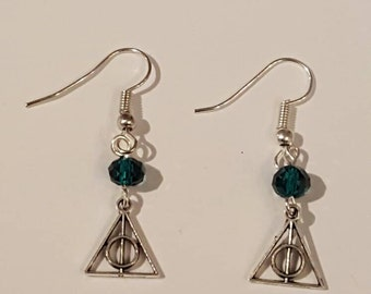 Harry Potter deathly hallows green Earrings