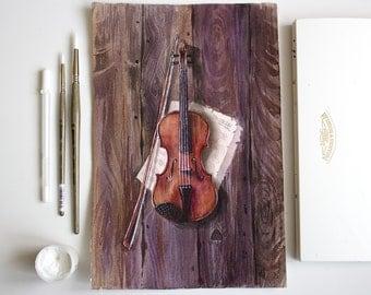 Violin Painting, Violin Watercolor, Original Watercolor Painting, Music Instrument Painting, office decor, home decor, wall art, 12,8x8,4 in