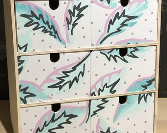 Small storage drawers in tropical print