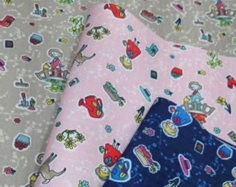 Girl Flower Pot Deer Printed Laminated Fabric Waterproof  made in Korea by the Yard